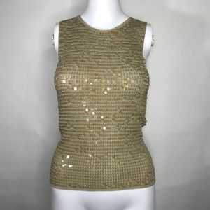 INC NWT Greenwich New Gold Sequin Tank Top Small